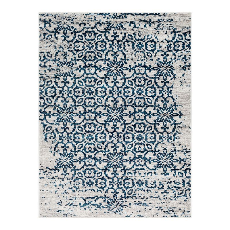 Decor 140 Marseille Distressed Trellis Rug, Blue, 4X5.5 Ft