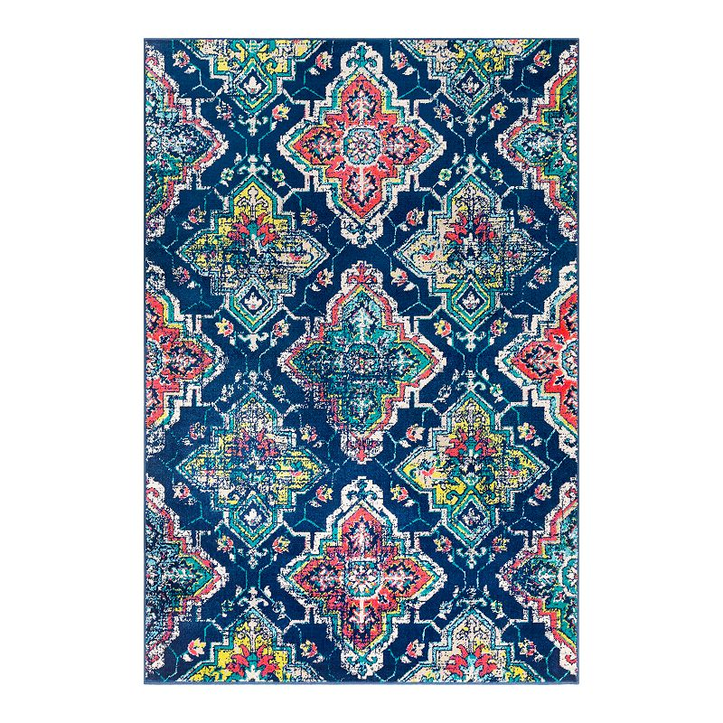 Decor 140 Primordial Distressed Trellis Rug, Blue, 5X7.5 Ft