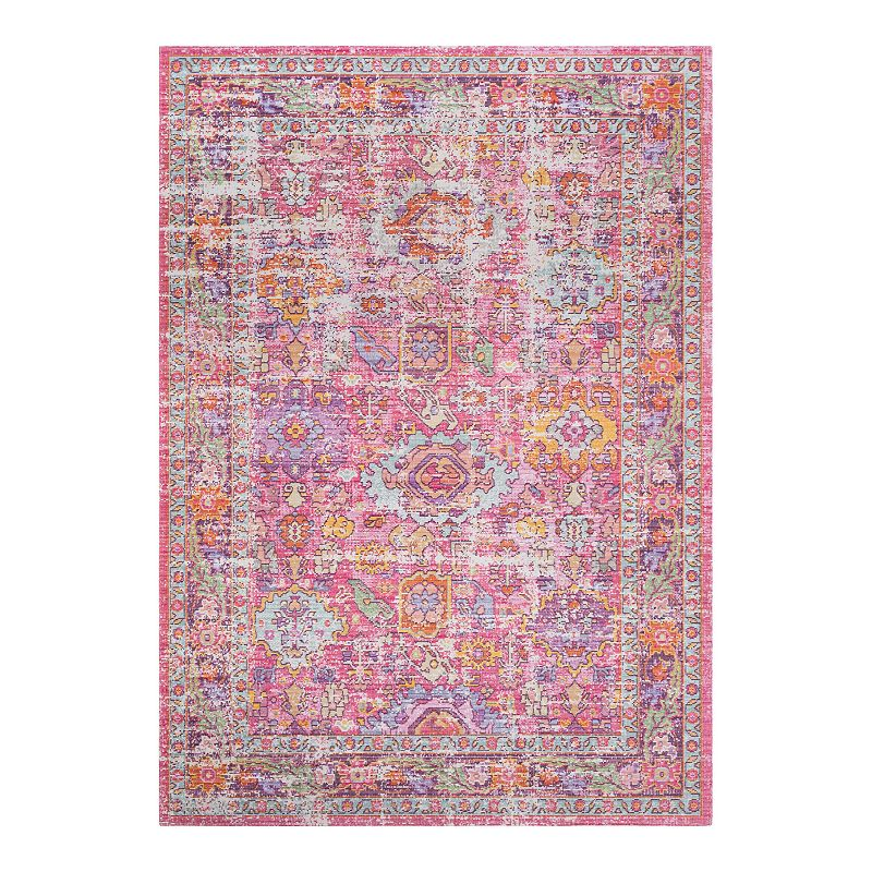Decor 140 Kreios Distressed Traditional Rug, Pink, 5X7 Ft