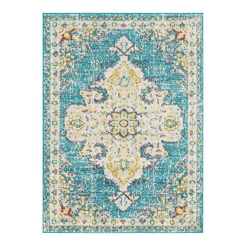 Decor 140 Vallauris Distressed Medallion Rug, Blue, 2X3 Ft