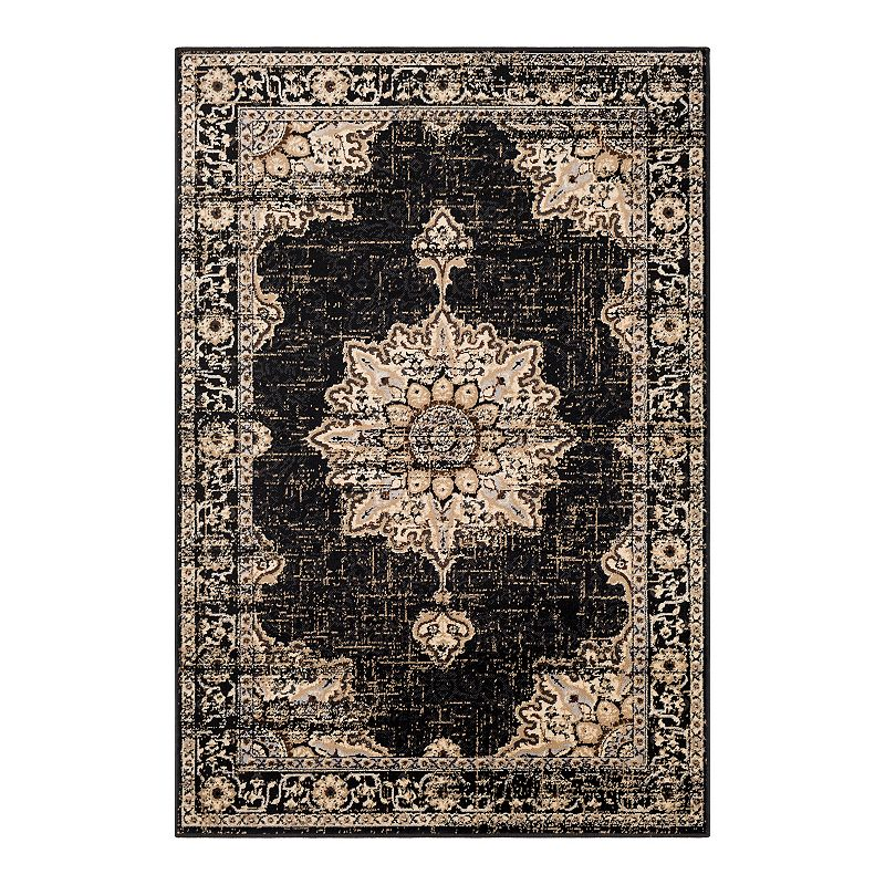 Decor 140 Primordial Medallion Rug, Black, 5X7.5 Ft