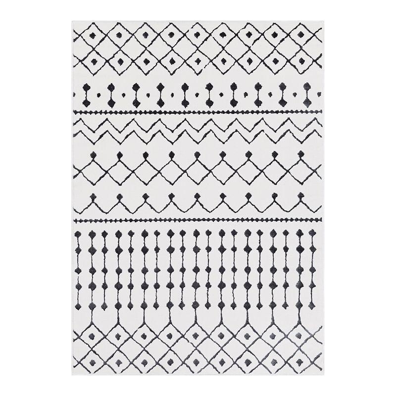 Decor 140 Thalia Bohemian Rug, White, 5X7 Ft