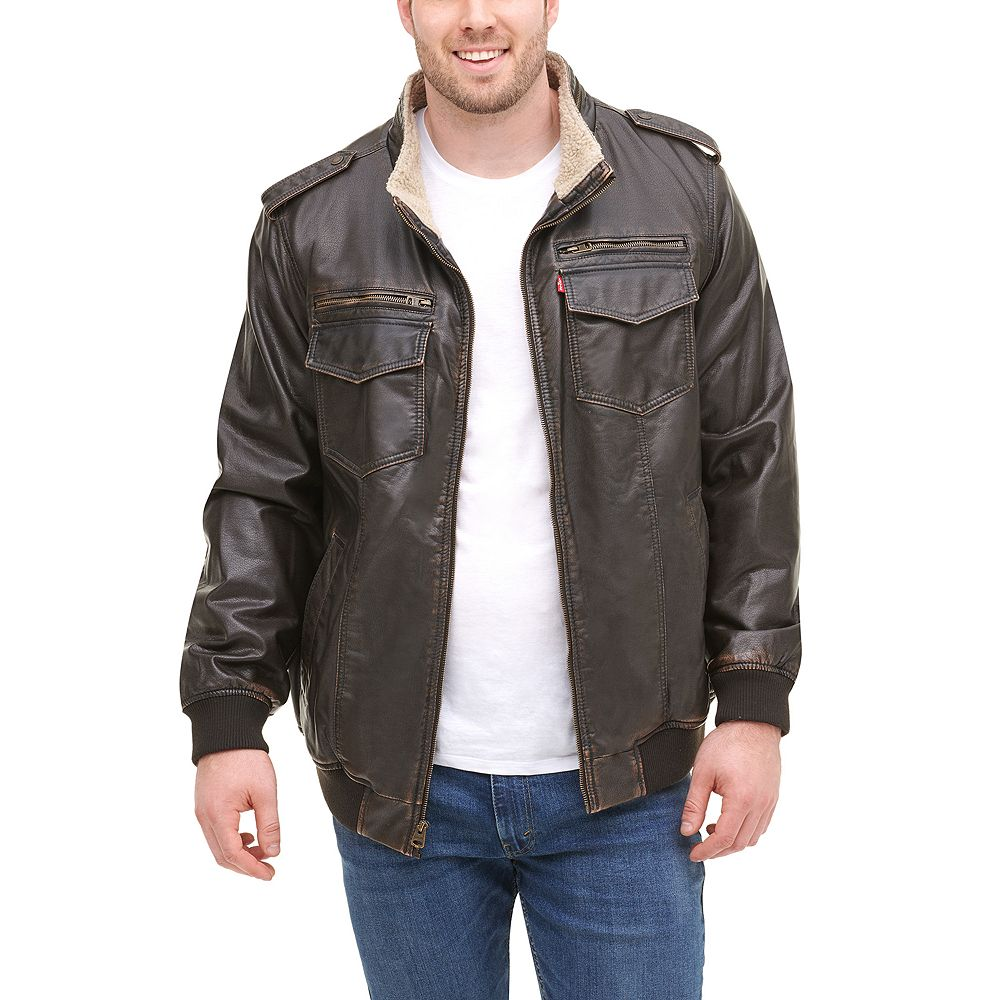 Men's Levi's® Faux Leather Aviator Bomber Jacket with Sherpa Lining