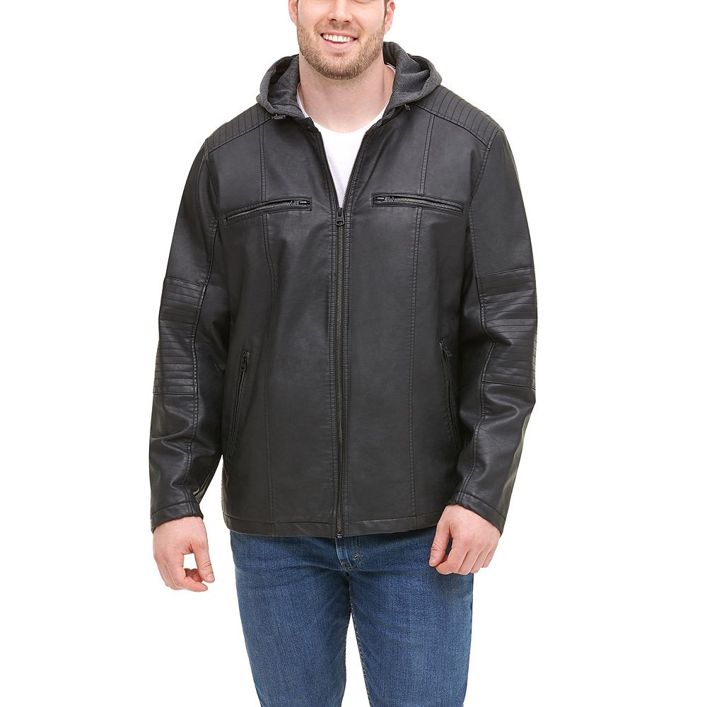 Big & Tall Levi's® Faux Leather Quilted Racer Jacket With Jersey Hood