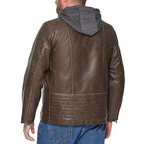 Big & Tall Levi's Faux Leather Quilted Racer Jacket With Jersey Hood