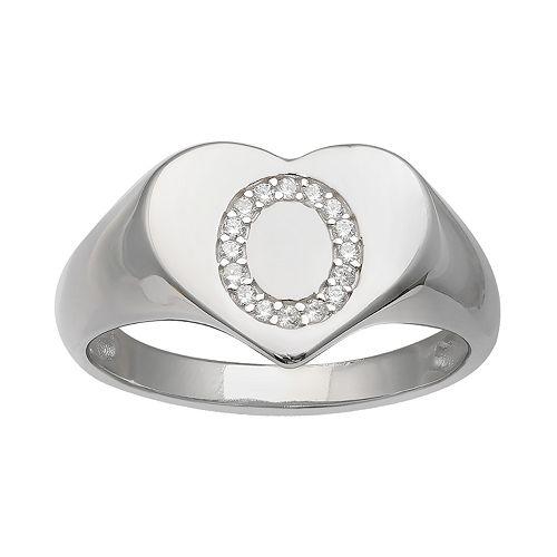 PRIMROSE Heart Cubic Zirconia Initial Ring
