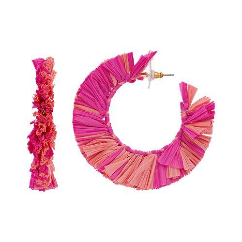 Tropical Pink Raffia Hoop Earrings