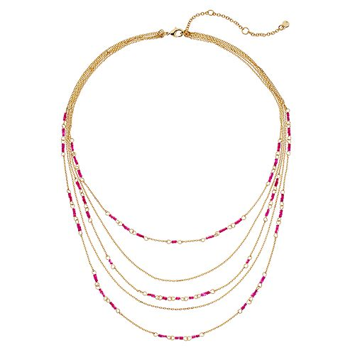 Neon Pink Tropical Beaded Layered Necklace