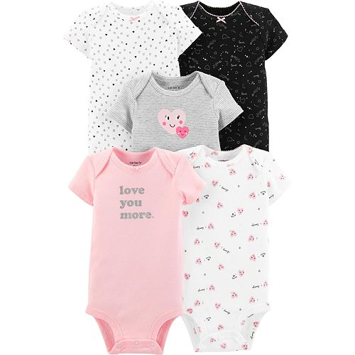 Carters 5 Pack Bodysuits Baby Girl Size 9 Month Polka Dot 100/% Cotton