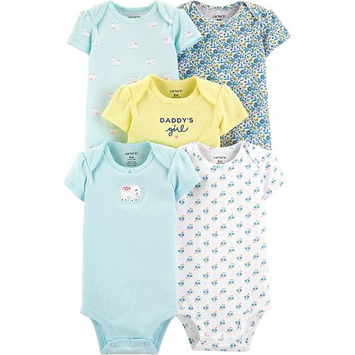 Baby Girl Carter's 5-pack Elephant Original Bodysuits