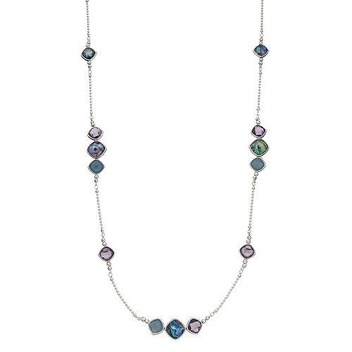 Napier Silver Tone Stone Strandage Necklace