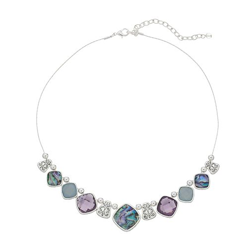 Napier Silver Tone Stone Frontal Necklace