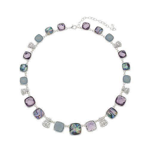 Napier Silver Tone Stone Collar Necklace
