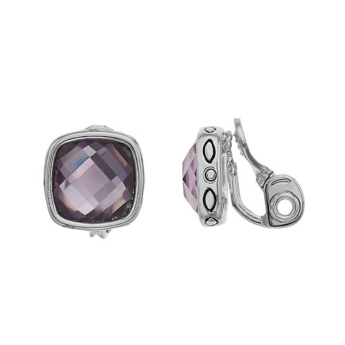 Napier Silver Tone Square Button Clip Earrings