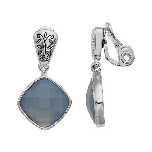 Napier Silver Tone Double Drop Clip Earrings