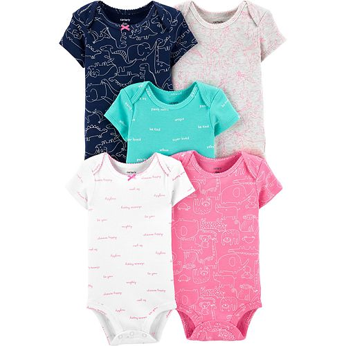 Baby Girl Carter's 5-pack Animal Print Original Bodysuits