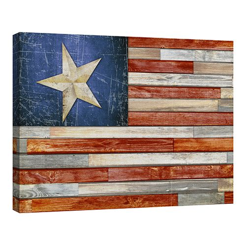 Fine Art Canvas Wooden Flag Canvas Wall Art