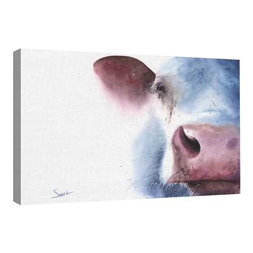 Traditional Fine Art Watercolor Cow Canvas Wall Art