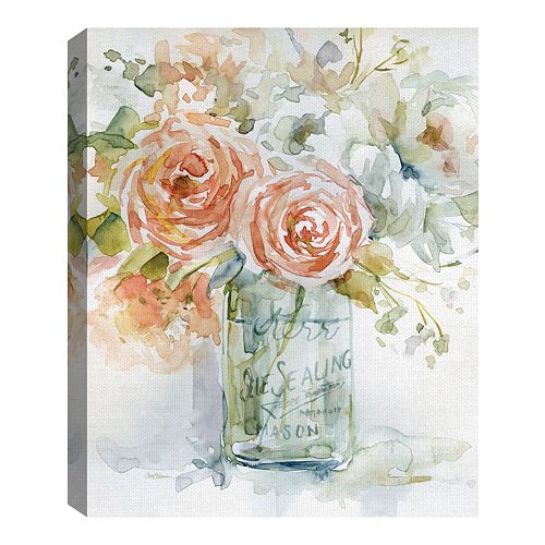 Fine Art Canvas Fine Art Canvas Cabbage Roses II by Carol Robinson Wall Art