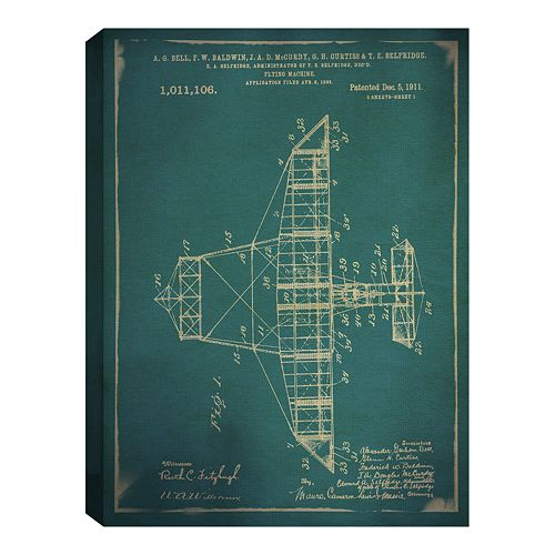 Fine Art Canvas Flying Machine I Blue
