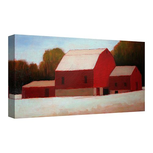 Fine Art Canvas Red Barn Times Three by Tracy Helgeson Wall Art