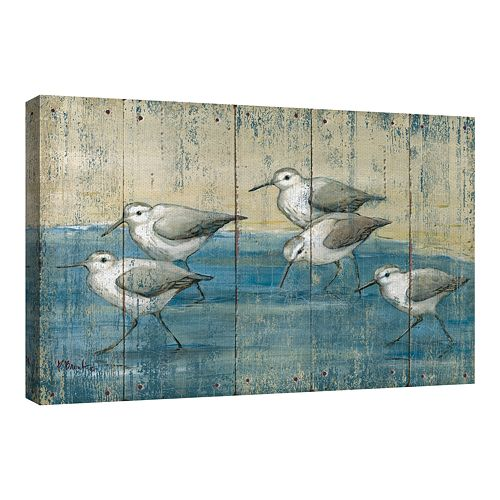 Fine Art Canvas Sandpipers on Wood by Paul Brent Wall Art