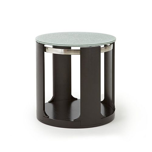 Steve Silver Co. Croften Cracked Glass Round End Table