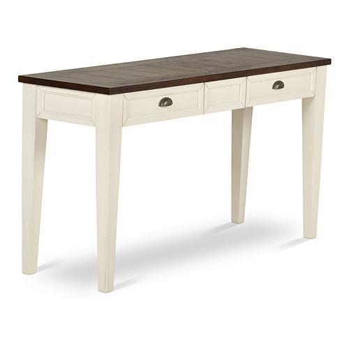 Cayla Console Table Dark Oak/White