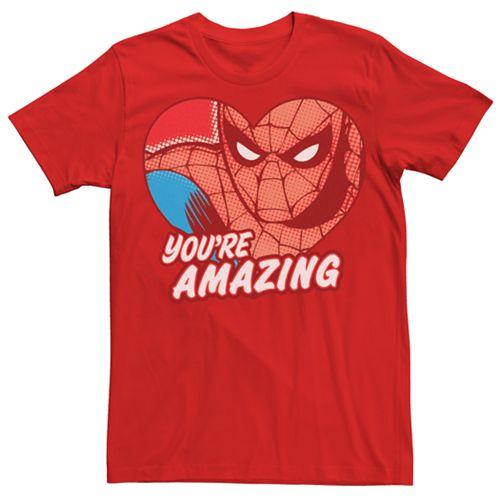 Men's Marvel Retro Spider-Man Amazing Heart Graphic Tee