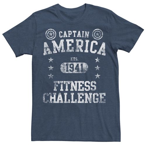 Men's Marvel Captain America Vintage Fitness Challenge Graphic Tee
