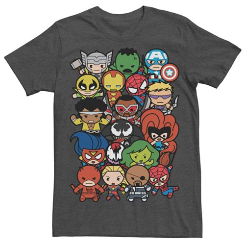 Men's Marvel Kawaii Art Collection Pile Up Graphic Tee