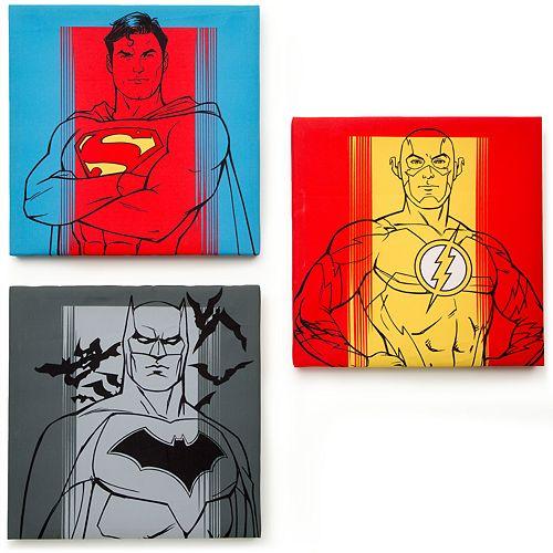 Delta Children Justice League 3 Piece Canvas Wall Art Set