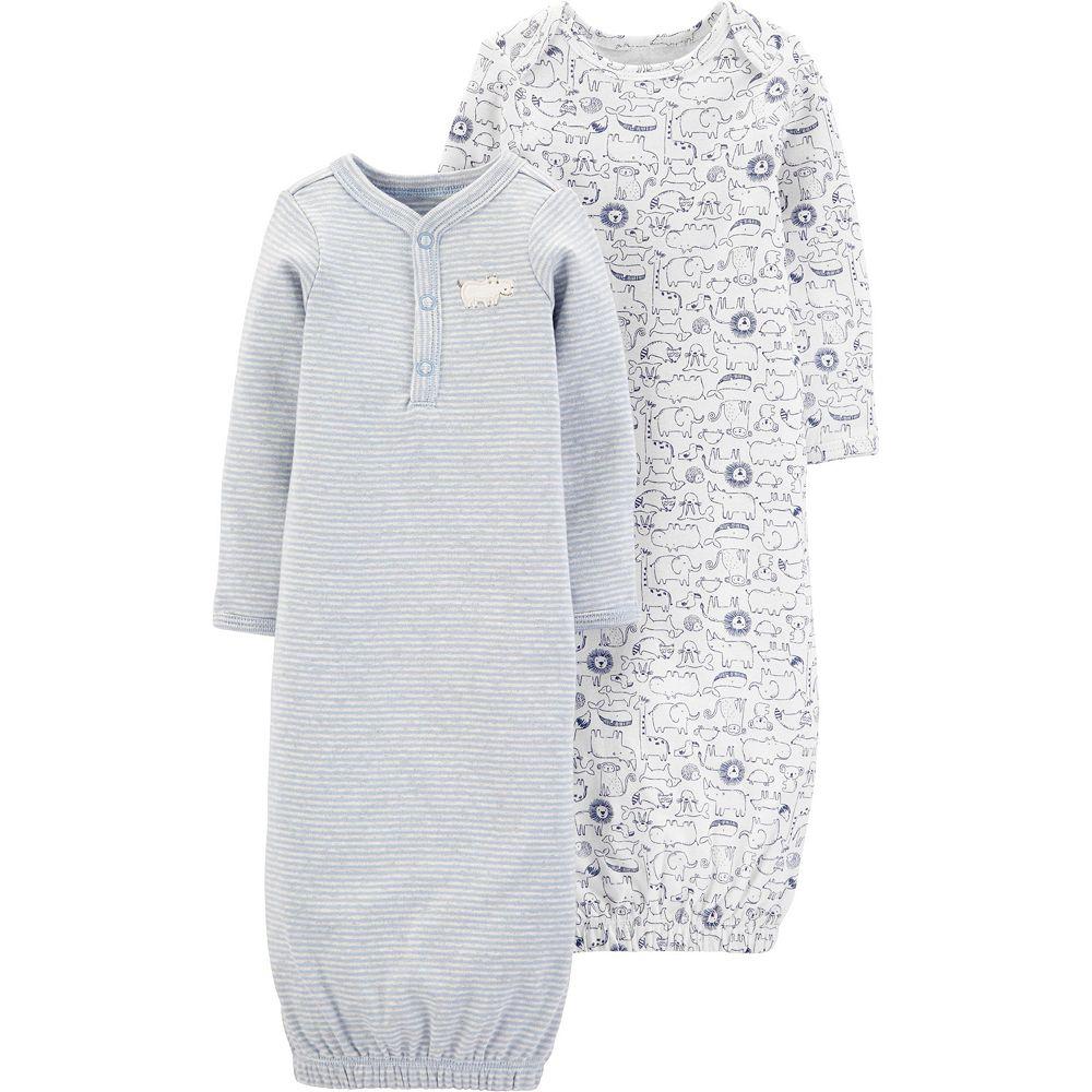 Baby Boy Carter's 2 Pack Animals Henley Sleep Gowns