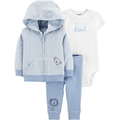 "Baby Carter's 3 Piece Hooded Cardigan, ""One of a Kind"" Bodysuit & Pants Set"