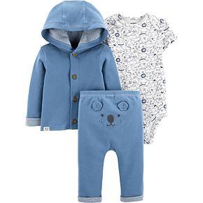Baby Carter's 3 Piece Hooded Cardigan, Bodysuit & Turn Me Around Pants Set