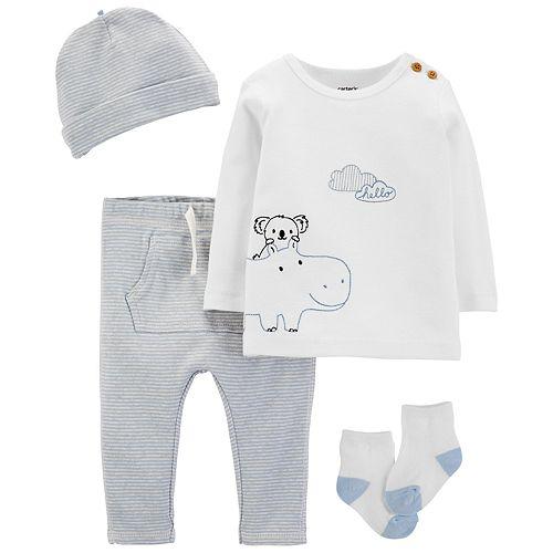 Baby Boy Carter's 4 Piece Take Me Home Hippo & Koala Top, Pants Hat & Socks Set