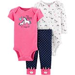 Baby Girl Carter's 3 Piece Unicorns Bodysuits & Pants Set