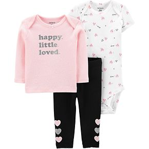 "Baby Girl Carter's 3 Piece ""Happy Little Loved"" Tee, Bodysuit & Pants Set"