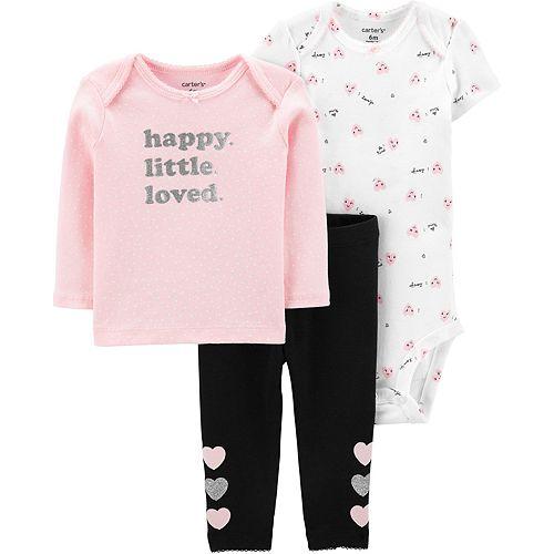 "Baby Girl Carter's 3 Piece ""Happy Little Loved"" Tee, Bodysuit & Pants Set"