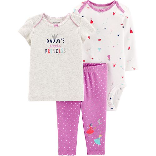 "Baby Girl Carter's 3 Piece ""Daddy's Little Princess"" Tee, Bodysuit & Pants Set"