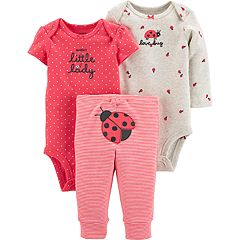 03708569 Baby Girl Carter's 3 Piece 'Auntie's Little Lady' Ladybug Bodysuits & Pants  Set