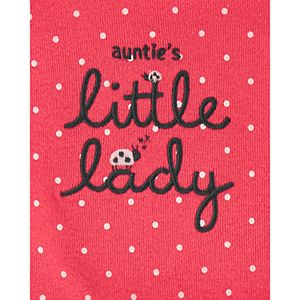 "Baby Girl Carter's 3 Piece ""Auntie's Little Lady"" Ladybug Bodysuits & Pants Set"