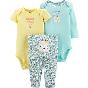 "Baby Girl Carter's 3 Piece ""Mom's Mini Me"" Llama Bodysuits & Pants Set"