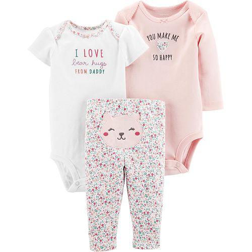 "Baby Girl Carter's 3 Piece ""Happy"" Floral & Heart Bodysuits & Pants Set"