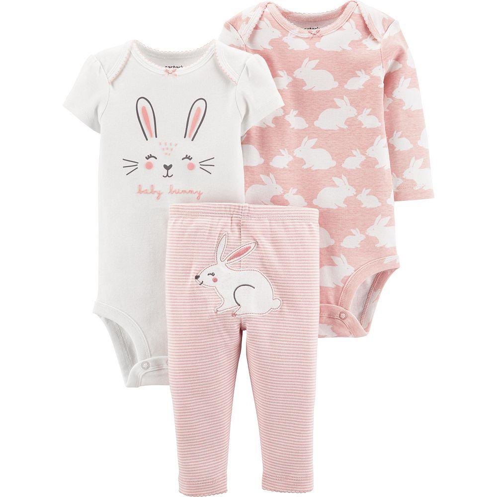 Baby Girl Carter's 3 Piece Bunny Bodysuits & Pants Set