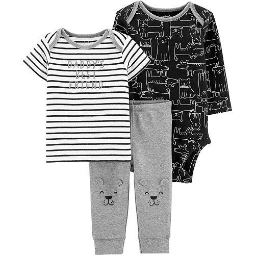 "Baby Boy Carter's 3 Piece ""Daddy's Best Friend"" Striped Tee, Dog Bodysuit & Pants Set"