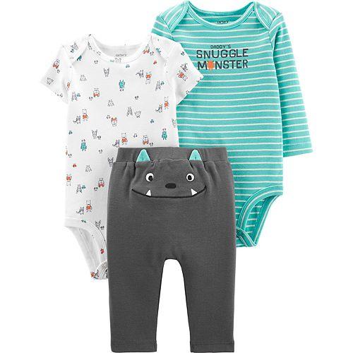 Baby Boy Carter's 3 Piece Monster Bodysuits & Pants Set
