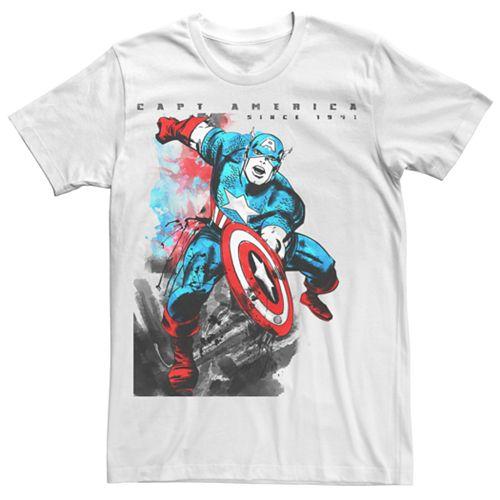 Men's Captain America Watercolor Tee