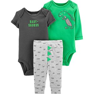 Baby Boy Carter's 3 Piece Dinosaur Bodysuits & Turn Me Around Pants Set