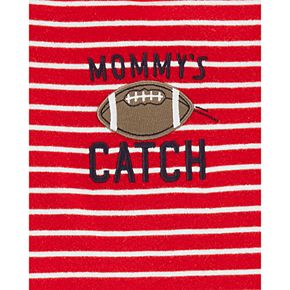 "Baby Boy Carter's 3 Piece ""Mommy's Catch"" Striped Football Tee, Bodysuit & Pants Set"